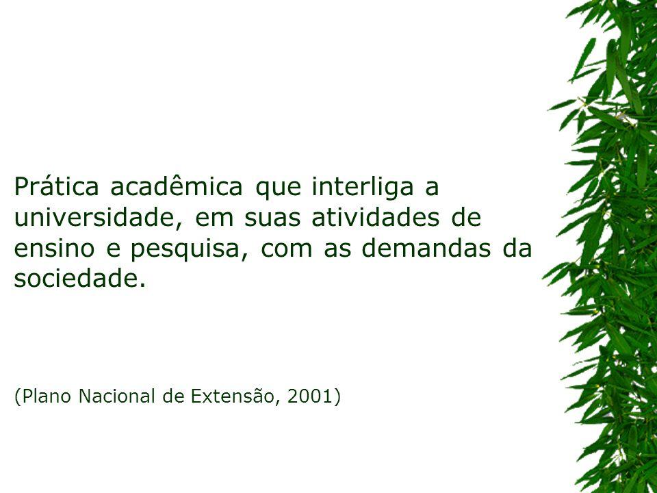Prática acadêmica que interliga a universidade, em suas atividades de ensino e pesquisa, com as demandas da sociedade. (Plano Nacional de Extensão, 20