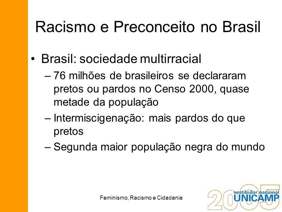 Feminismo, Racismo e Cidadania Racismo e Preconceito no Brasil Brasil: sociedade multirracial –76 milhões de brasileiros se declararam pretos ou pardo