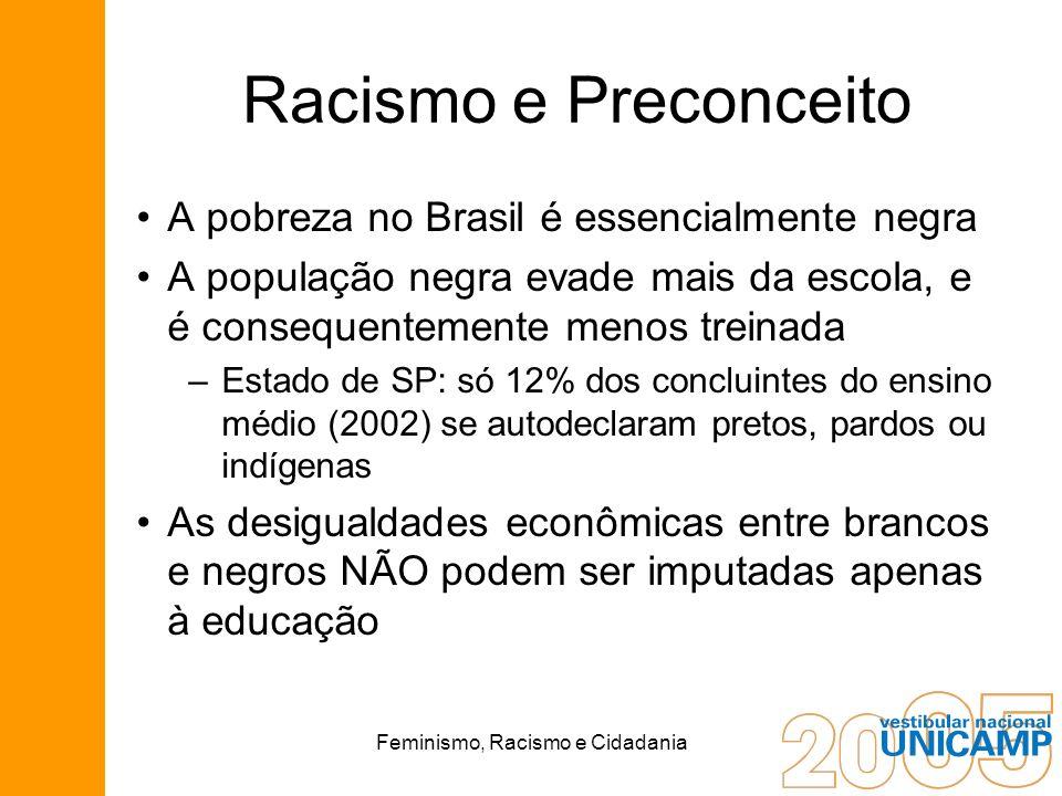 Feminismo, Racismo e Cidadania Racismo e Preconceito A pobreza no Brasil é essencialmente negra A população negra evade mais da escola, e é consequent