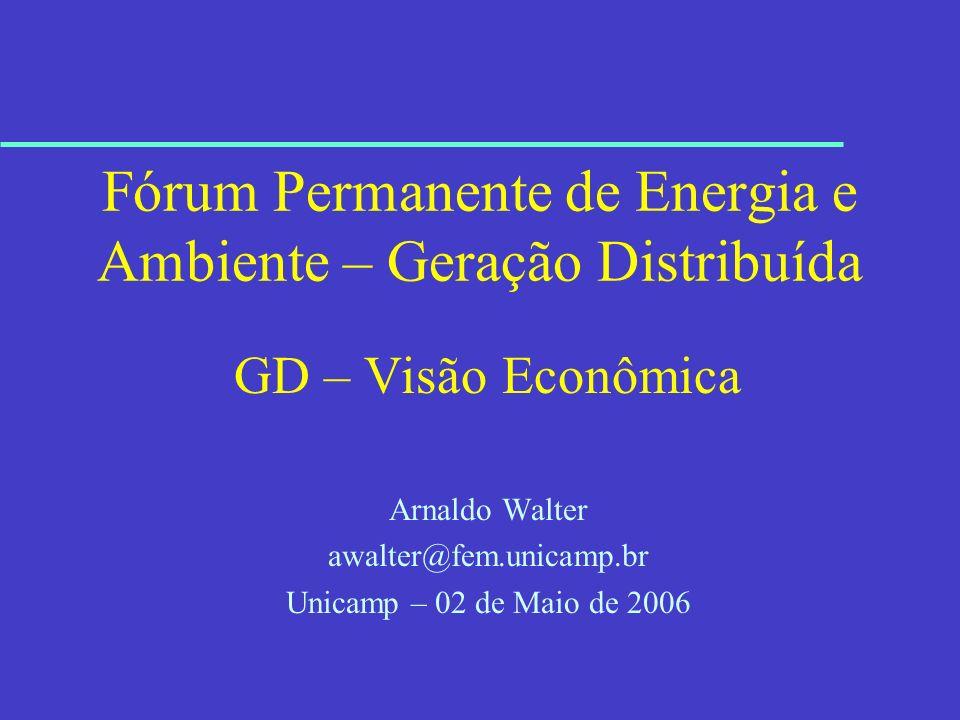 Fórum Permanente de Energia e Ambiente – Geração Distribuída GD – Visão Econômica Arnaldo Walter awalter@fem.unicamp.br Unicamp – 02 de Maio de 2006