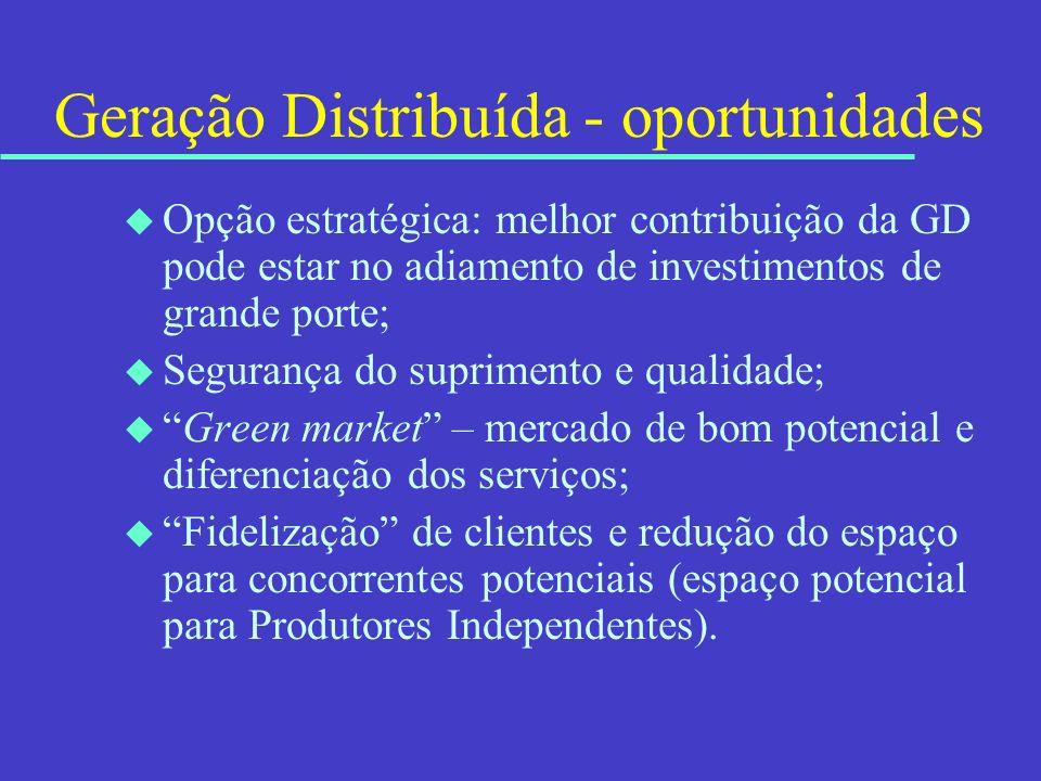 Geração Distribuída - oportunidades u Opção estratégica: melhor contribuição da GD pode estar no adiamento de investimentos de grande porte; u Seguran