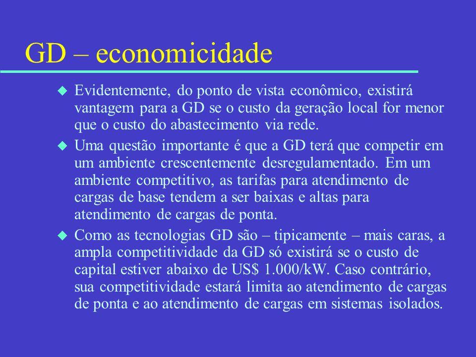 GD – economicidade u Evidentemente, do ponto de vista econômico, existirá vantagem para a GD se o custo da geração local for menor que o custo do abas