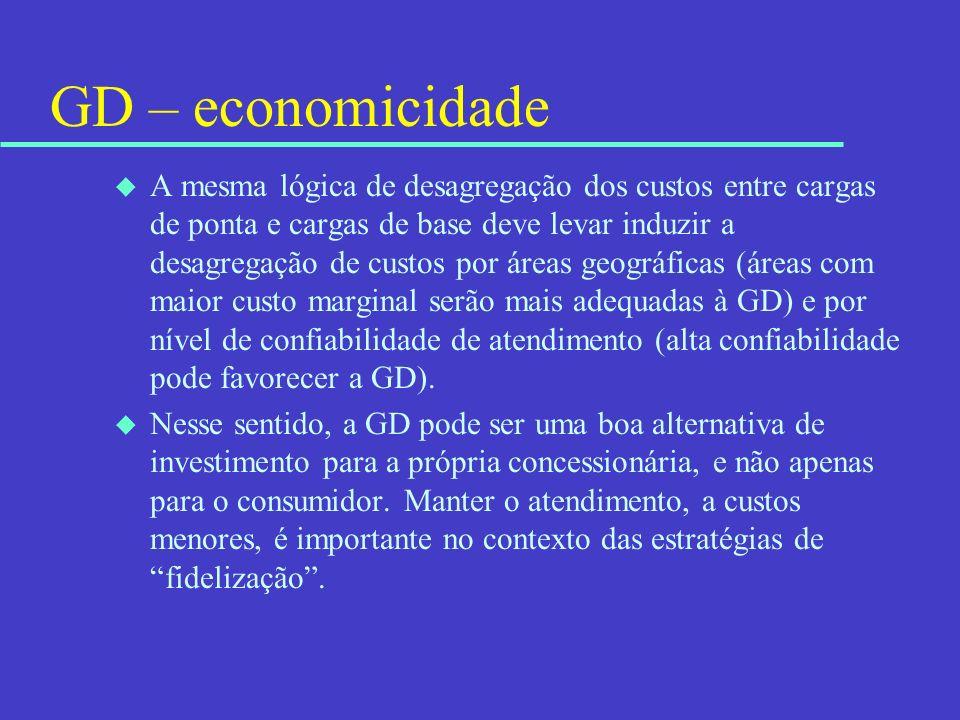 GD – economicidade u A mesma lógica de desagregação dos custos entre cargas de ponta e cargas de base deve levar induzir a desagregação de custos por