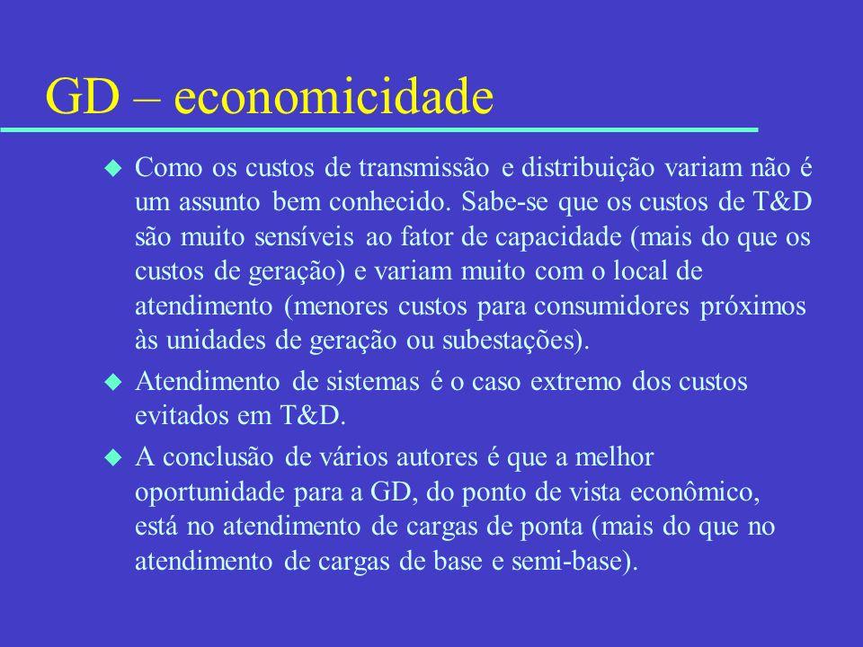 GD – economicidade u Como os custos de transmissão e distribuição variam não é um assunto bem conhecido. Sabe-se que os custos de T&D são muito sensív