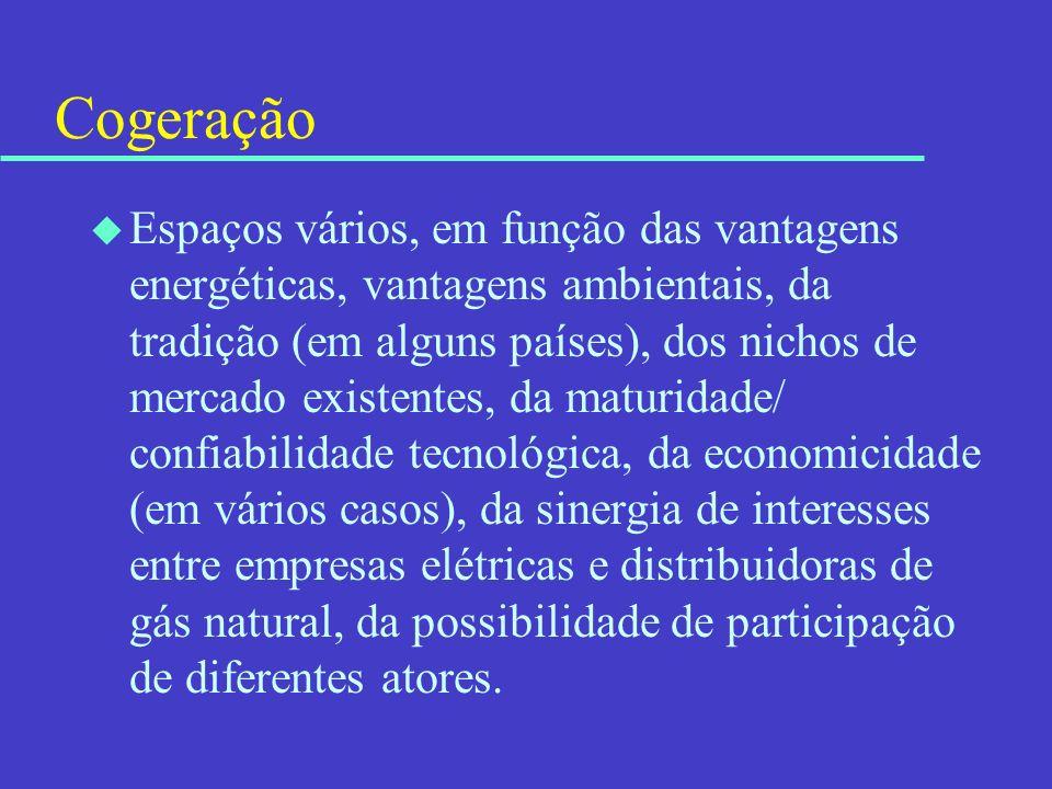 Cogeração u Espaços vários, em função das vantagens energéticas, vantagens ambientais, da tradição (em alguns países), dos nichos de mercado existente