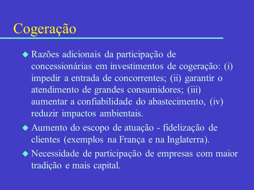 Cogeração u Razões adicionais da participação de concessionárias em investimentos de cogeração: (i) impedir a entrada de concorrentes; (ii) garantir o