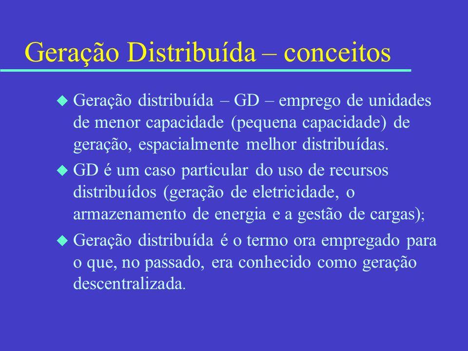 Geração Distribuída – conceitos u Geração distribuída – GD – emprego de unidades de menor capacidade (pequena capacidade) de geração, espacialmente me