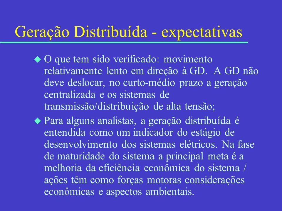 Geração Distribuída - expectativas u O que tem sido verificado: movimento relativamente lento em direção à GD. A GD não deve deslocar, no curto-médio