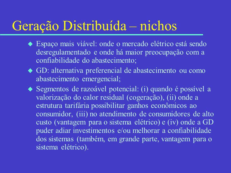 Geração Distribuída – nichos u Espaço mais viável: onde o mercado elétrico está sendo desregulamentado e onde há maior preocupação com a confiabilidad