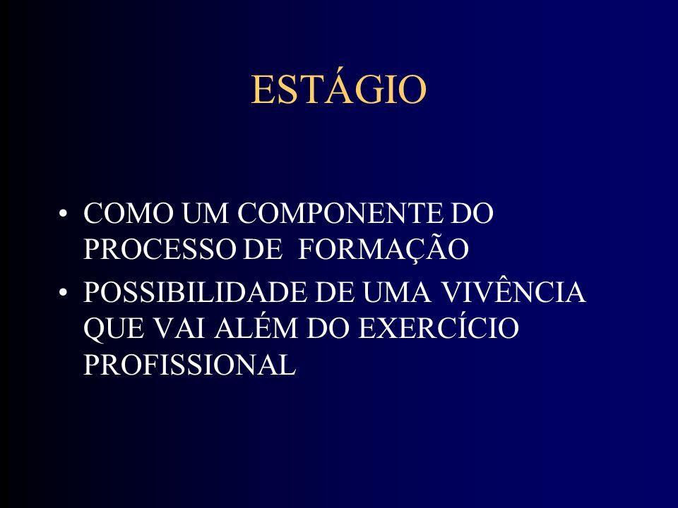 ESTÁGIO COMO UM COMPONENTE DO PROCESSO DE FORMAÇÃO POSSIBILIDADE DE UMA VIVÊNCIA QUE VAI ALÉM DO EXERCÍCIO PROFISSIONAL