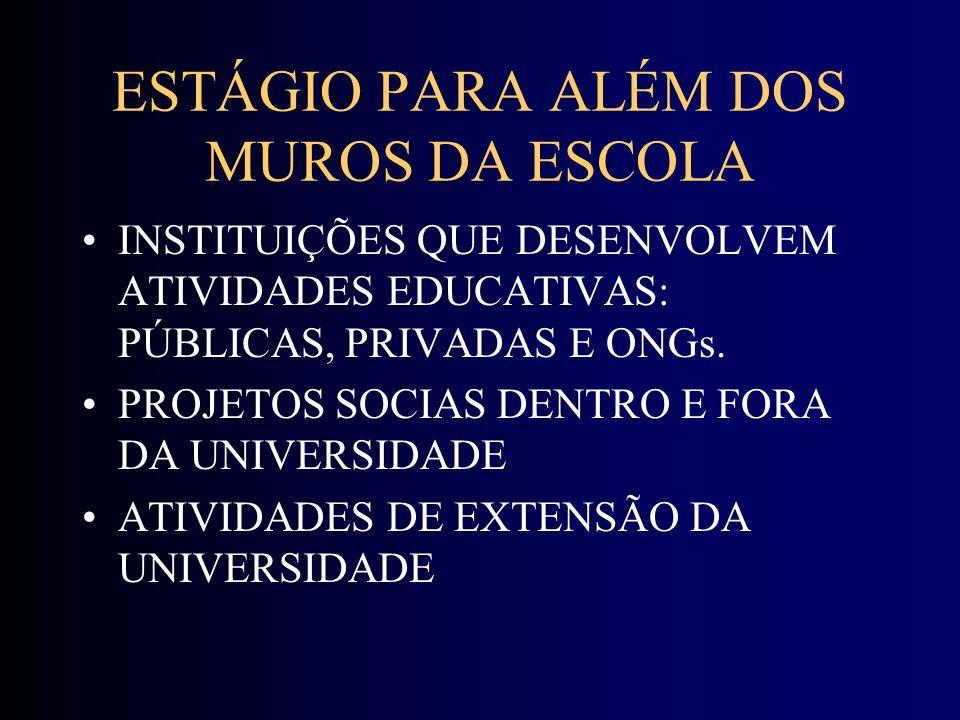 ESTÁGIO PARA ALÉM DOS MUROS DA ESCOLA INSTITUIÇÕES QUE DESENVOLVEM ATIVIDADES EDUCATIVAS: PÚBLICAS, PRIVADAS E ONGs.