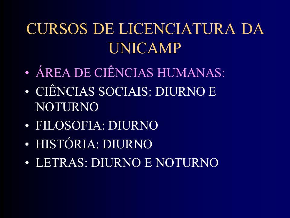 CURSOS DE LICENCIATURA DA UNICAMP ÁREA DE CIÊNCIAS HUMANAS: CIÊNCIAS SOCIAIS: DIURNO E NOTURNO FILOSOFIA: DIURNO HISTÓRIA: DIURNO LETRAS: DIURNO E NOTURNO