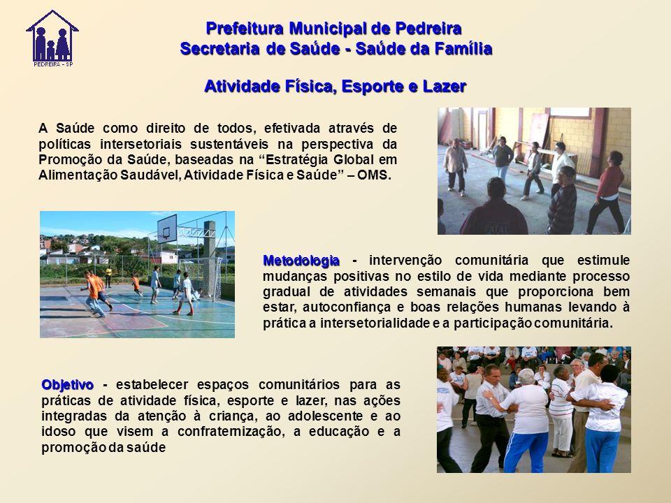 Prefeitura Municipal de Pedreira Secretaria de Saúde - Saúde da Família Secretaria de Saúde - Saúde da Família Atividade Física, Esporte e Lazer A Saú