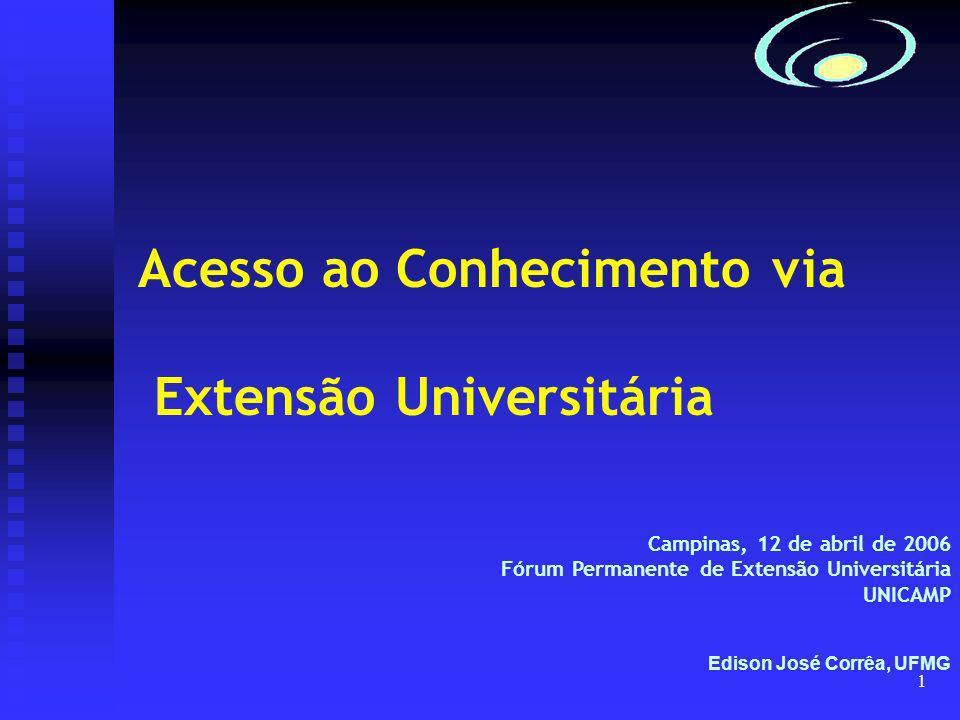 1 Acesso ao Conhecimento via Extensão Universitária Campinas, 12 de abril de 2006 Fórum Permanente de Extensão Universitária UNICAMP Edison José Corrêa, UFMG