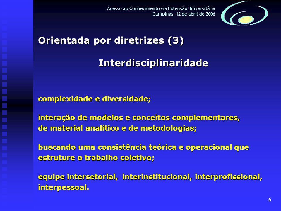 6 Acesso ao Conhecimento via Extensão Universitária Campinas, 12 de abril de 2006 Orientada por diretrizes (3) Interdisciplinaridade complexidade e diversidade; interação de modelos e conceitos complementares, de material analítico e de metodologias; buscando uma consistência teórica e operacional que estruture o trabalho coletivo; equipe intersetorial, interinstitucional, interprofissional, interpessoal.