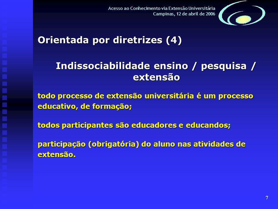 7 Acesso ao Conhecimento via Extensão Universitária Campinas, 12 de abril de 2006 Orientada por diretrizes (4) Indissociabilidade ensino / pesquisa / extensão todo processo de extensão universitária é um processo educativo, de formação; todos participantes são educadores e educandos; participação (obrigatória) do aluno nas atividades de extensão.
