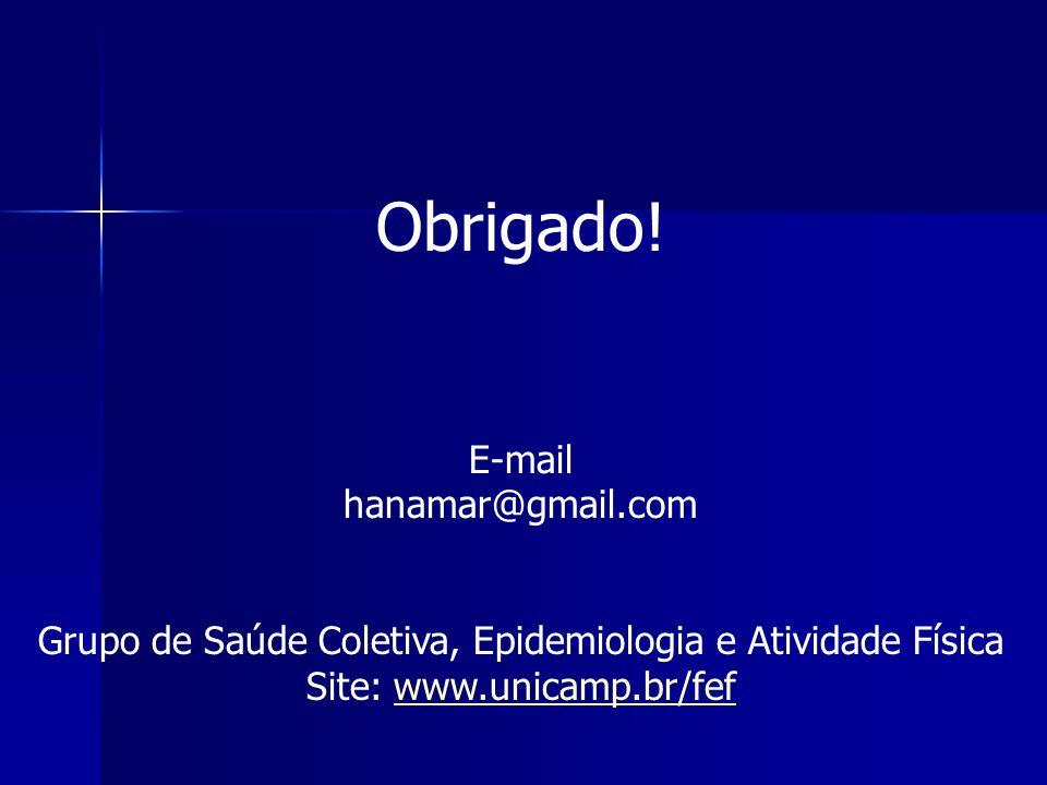 Obrigado! E-mail hanamar@gmail.com Grupo de Saúde Coletiva, Epidemiologia e Atividade Física Site: www.unicamp.br/fefwww.unicamp.br/fef