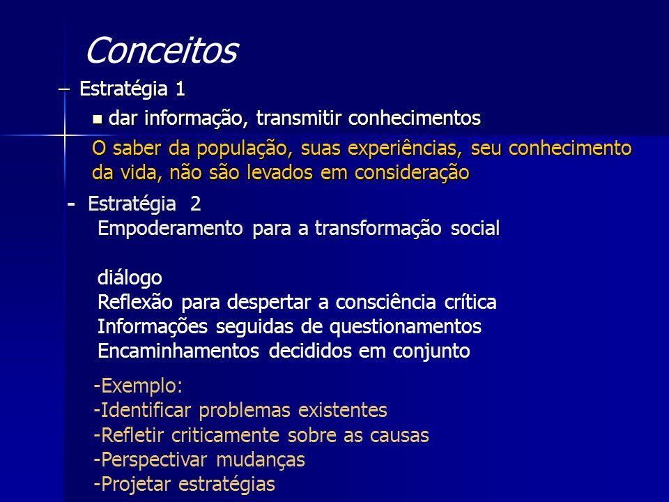 –Estratégia 1 dar informação, transmitir conhecimentos dar informação, transmitir conhecimentos O saber da população, suas experiências, seu conhecime