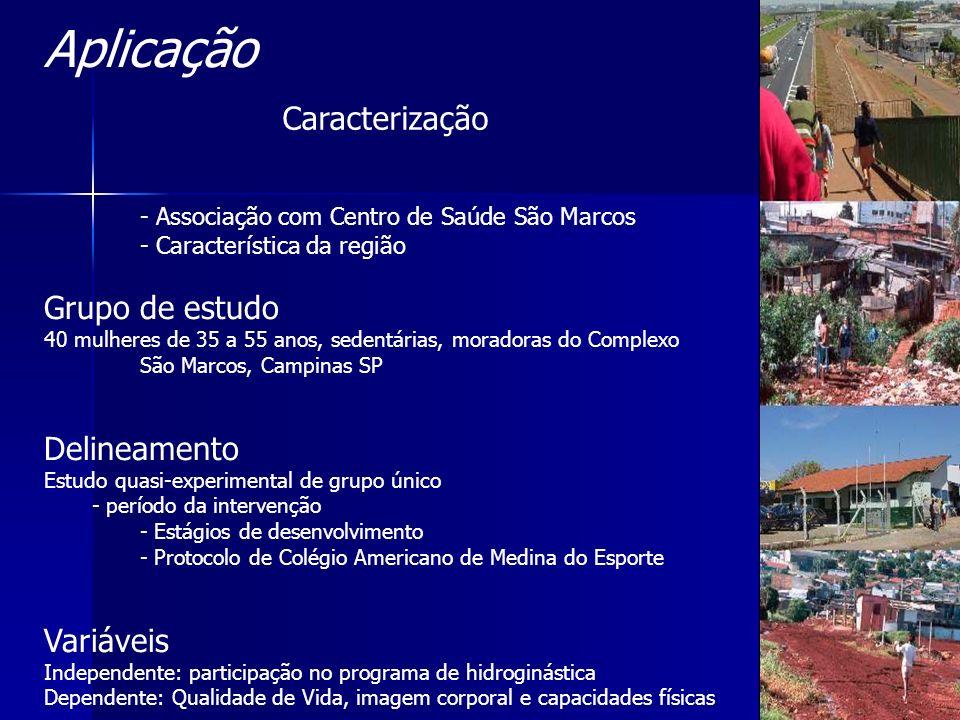 - Associação com Centro de Saúde São Marcos - Característica da região Grupo de estudo 40 mulheres de 35 a 55 anos, sedentárias, moradoras do Complexo