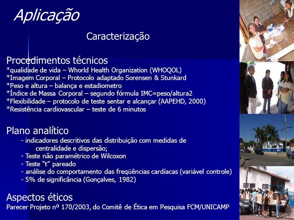 Procedimentos técnicos *qualidade de vida – Whorld Health Organization (WHOQOL) *Imagem Corporal – Protocolo adaptado Sorensen & Stunkard *Peso e altu
