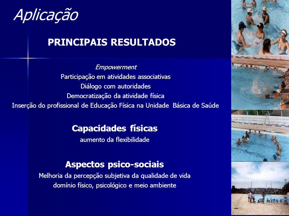 Empowerment Participação em atividades associativas Diálogo com autoridades Democratização da atividade física Inserção do profissional de Educação Fí
