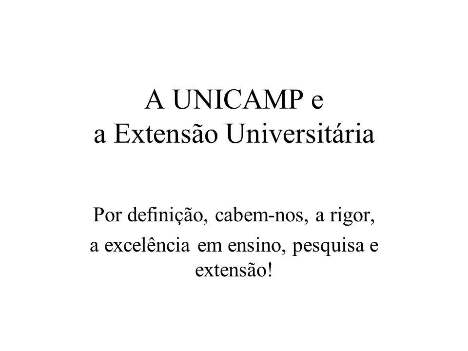 A UNICAMP e a Extensão Universitária Por definição, cabem-nos, a rigor, a excelência em ensino, pesquisa e extensão!