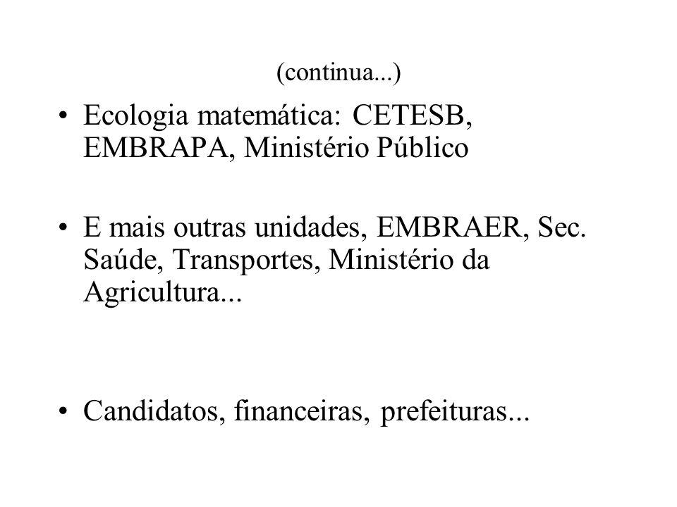 (continua...) Ecologia matemática: CETESB, EMBRAPA, Ministério Público E mais outras unidades, EMBRAER, Sec.