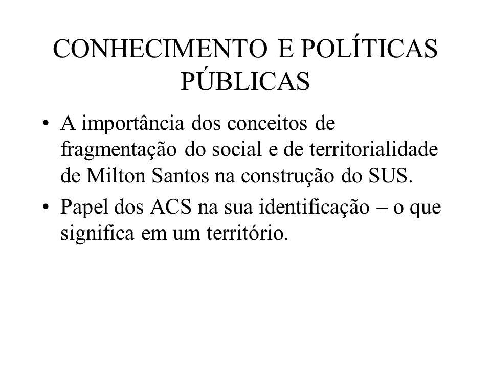 CONHECIMENTO E POLÍTICAS PÚBLICAS A importância dos conceitos de fragmentação do social e de territorialidade de Milton Santos na construção do SUS.