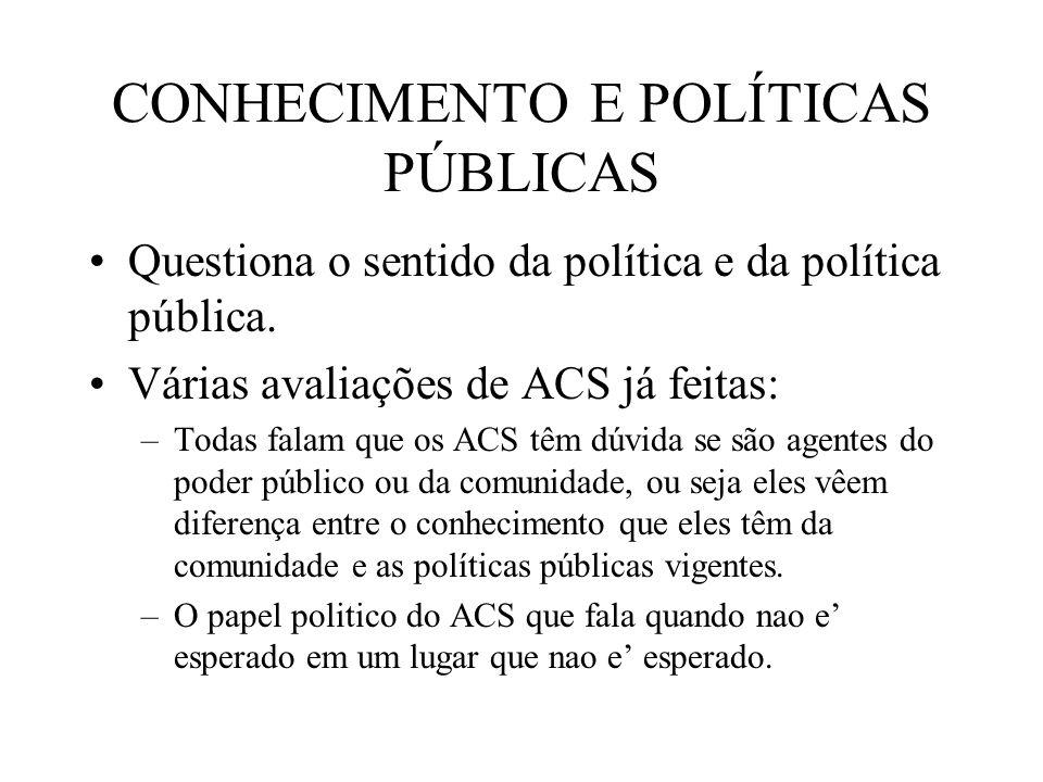 CONHECIMENTO E POLÍTICAS PÚBLICAS Questiona o sentido da política e da política pública. Várias avaliações de ACS já feitas: –Todas falam que os ACS t
