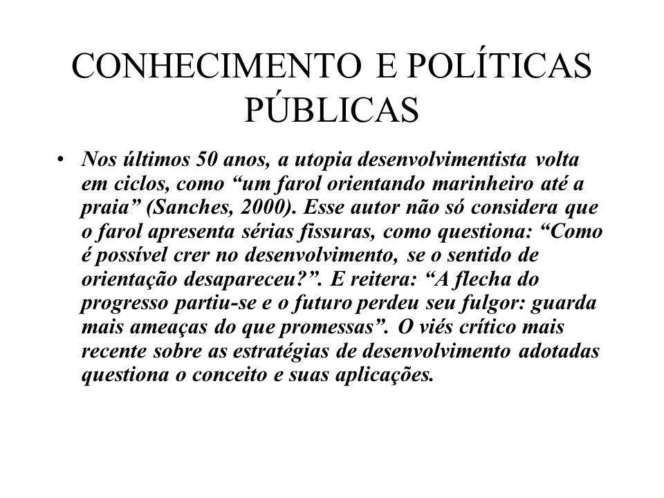 CONHECIMENTO E POLÍTICAS PÚBLICAS Nos últimos 50 anos, a utopia desenvolvimentista volta em ciclos, como um farol orientando marinheiro até a praia (Sanches, 2000).