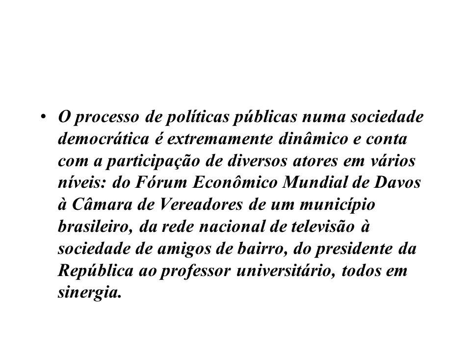 O processo de políticas públicas numa sociedade democrática é extremamente dinâmico e conta com a participação de diversos atores em vários níveis: do
