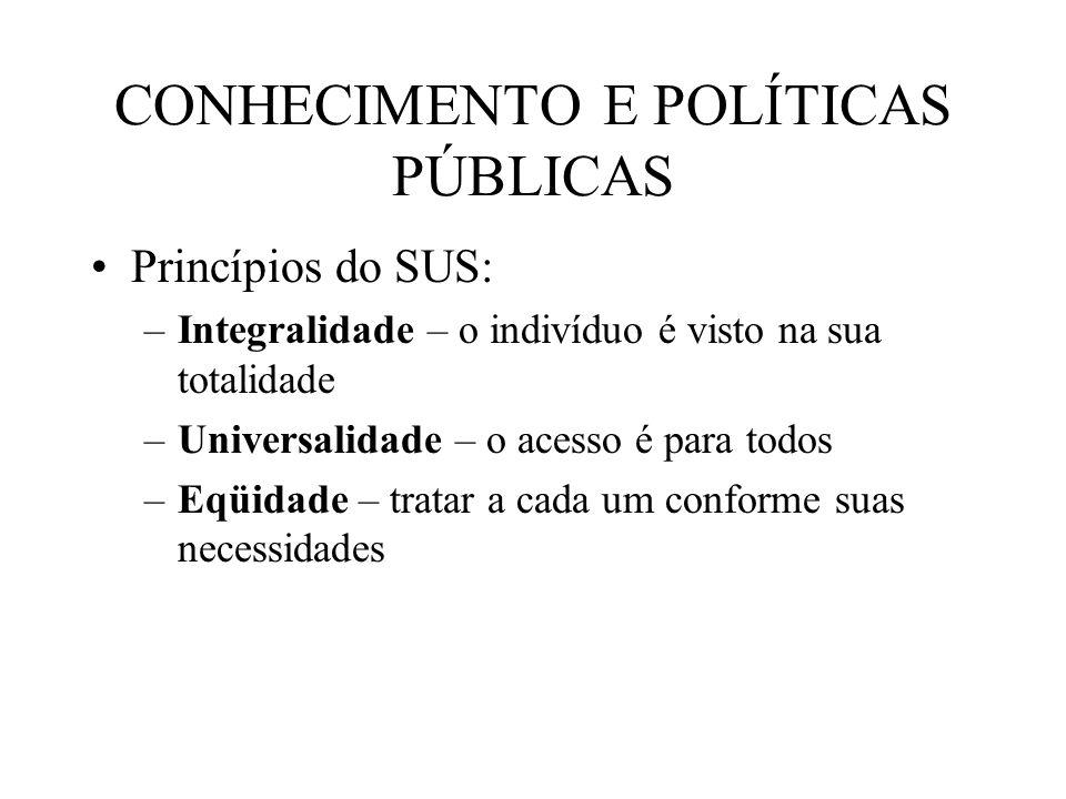 CONHECIMENTO E POLÍTICAS PÚBLICAS Princípios do SUS: –Integralidade – o indivíduo é visto na sua totalidade –Universalidade – o acesso é para todos –E