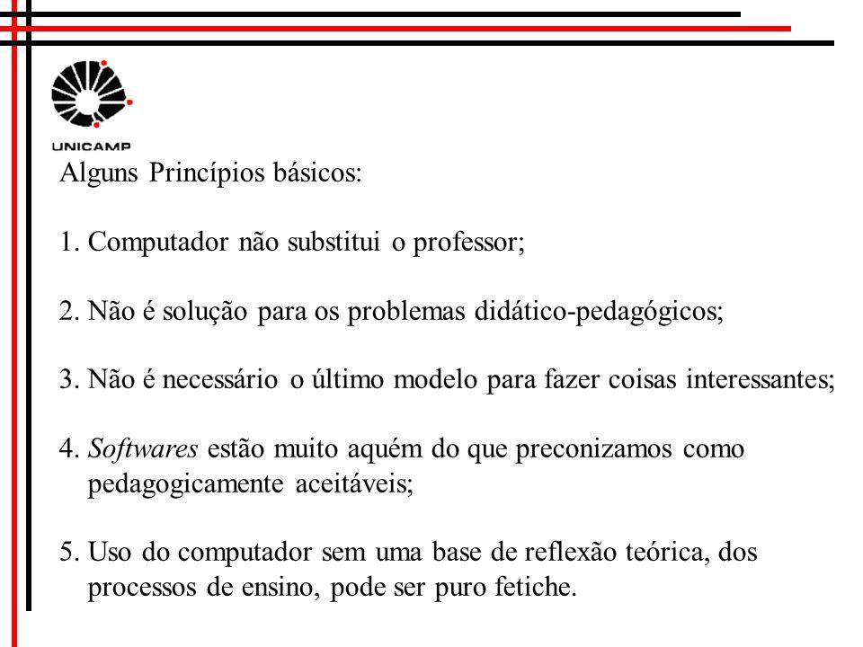 Alguns Princípios básicos: 1.Computador não substitui o professor; 2.
