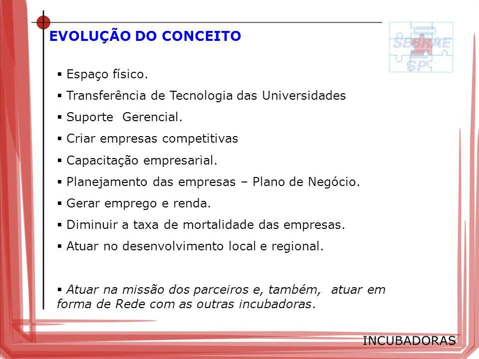EVOLUÇÃO DO CONCEITO Espaço físico. Transferência de Tecnologia das Universidades Suporte Gerencial. Criar empresas competitivas Capacitação empresari