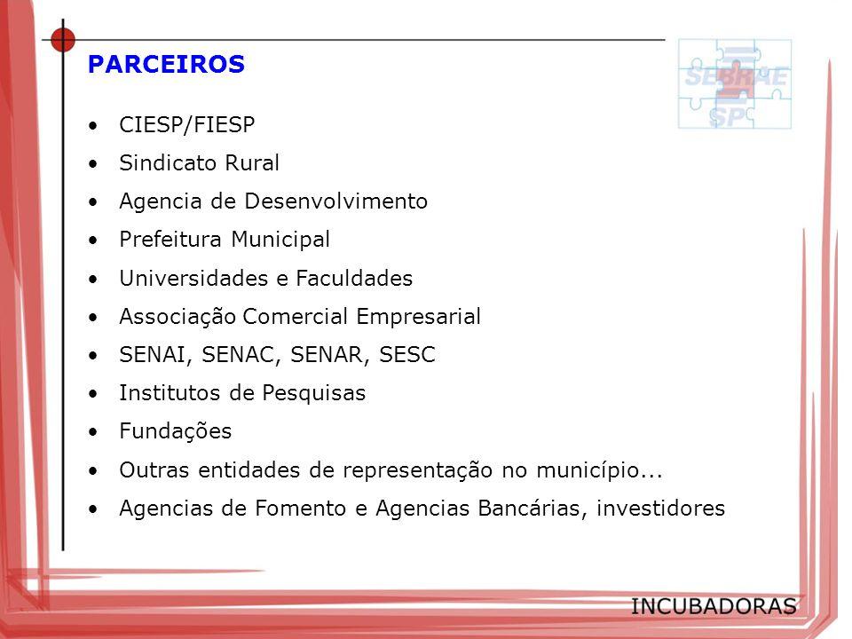 PARCEIROS CIESP/FIESP Sindicato Rural Agencia de Desenvolvimento Prefeitura Municipal Universidades e Faculdades Associação Comercial Empresarial SENA