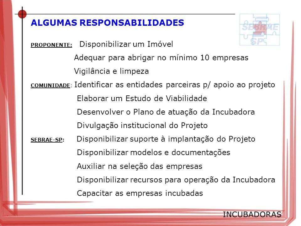 ALGUMAS RESPONSABILIDADES PROPONENTE: Disponibilizar um Imóvel Adequar para abrigar no mínimo 10 empresas Vigilância e limpeza COMUNIDADE: Identificar