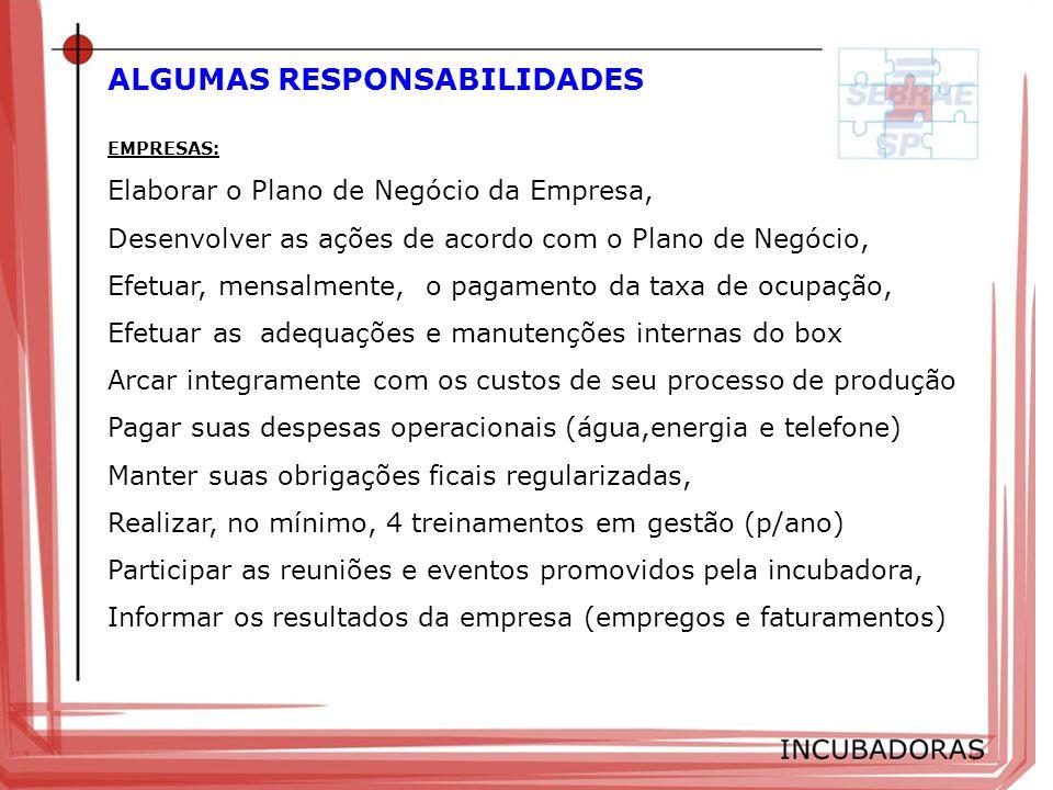 ALGUMAS RESPONSABILIDADES EMPRESAS: Elaborar o Plano de Negócio da Empresa, Desenvolver as ações de acordo com o Plano de Negócio, Efetuar, mensalment