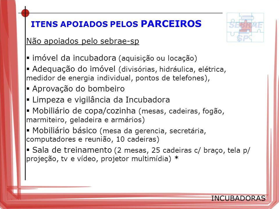 ITENS APOIADOS PELOS PARCEIROS Não apoiados pelo sebrae-sp imóvel da incubadora (aquisição ou locação) Adequação do imóvel (divisórias, hidráulica, el