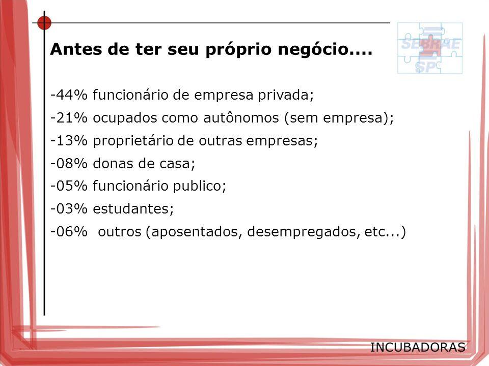 -34% desejava ter o próprio negócio; -28% identificou uma oportunidade de negócio; -11% tinha experiência anterior; -06% estava desempregado; -04% foi demitido (FGTS/indenização/PDV); -02% estava insatisfeito no emprego; -09% outros motivos Porque ter seu próprio negócio?....