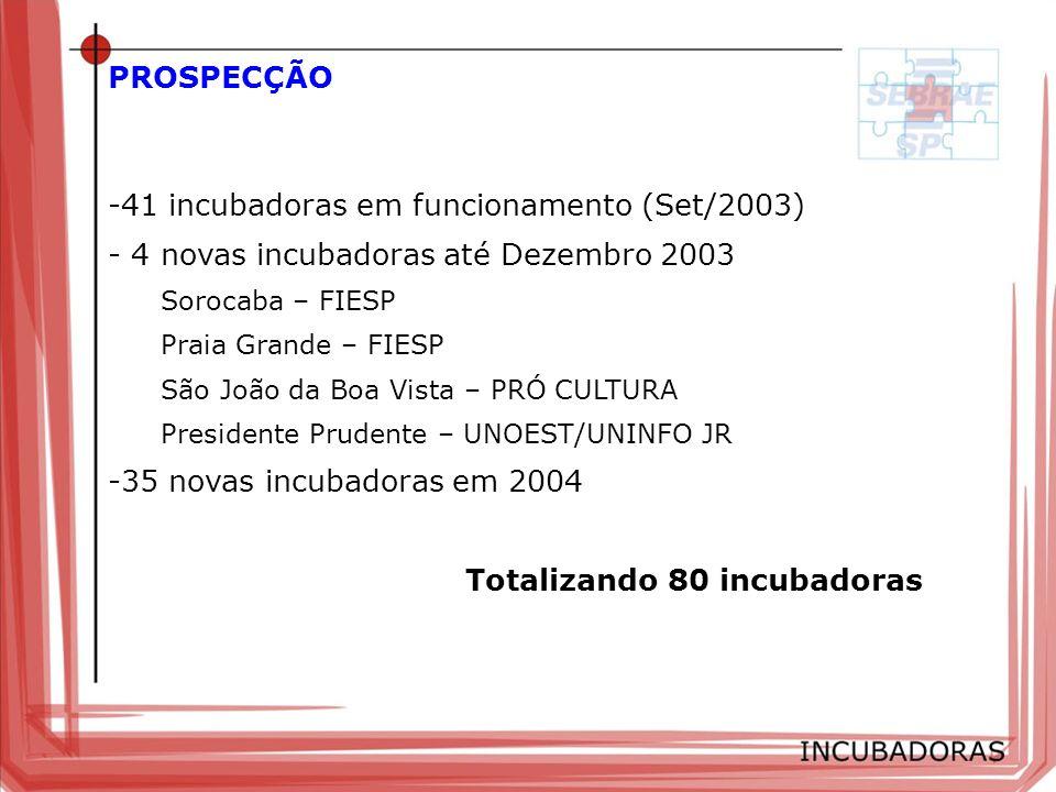 -41 incubadoras em funcionamento (Set/2003) - 4 novas incubadoras até Dezembro 2003 Sorocaba – FIESP Praia Grande – FIESP São João da Boa Vista – PRÓ