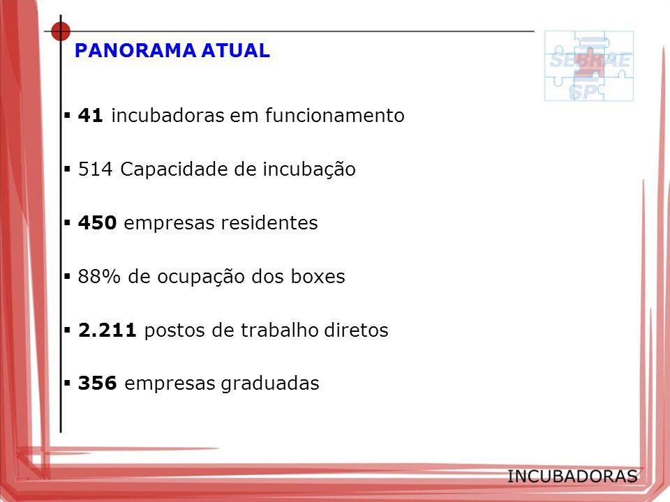 PANORAMA ATUAL 41 incubadoras em funcionamento 514 Capacidade de incubação 450 empresas residentes 88% de ocupação dos boxes 2.211 postos de trabalho