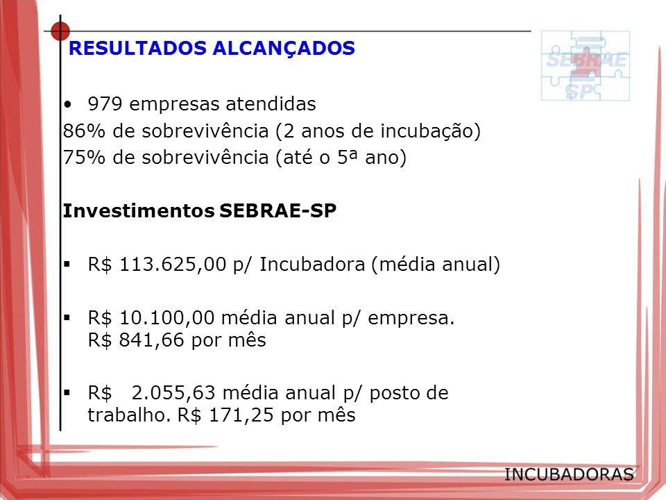 RESULTADOS ALCANÇADOS 979 empresas atendidas 86% de sobrevivência (2 anos de incubação) 75% de sobrevivência (até o 5ª ano) Investimentos SEBRAE-SP R$