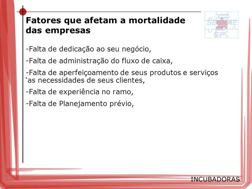 RESULTADOS ALCANÇADOS 979 empresas atendidas 86% de sobrevivência (2 anos de incubação) 75% de sobrevivência (até o 5ª ano) Investimentos SEBRAE-SP R$ 113.625,00 p/ Incubadora (média anual) R$ 10.100,00 média anual p/ empresa.