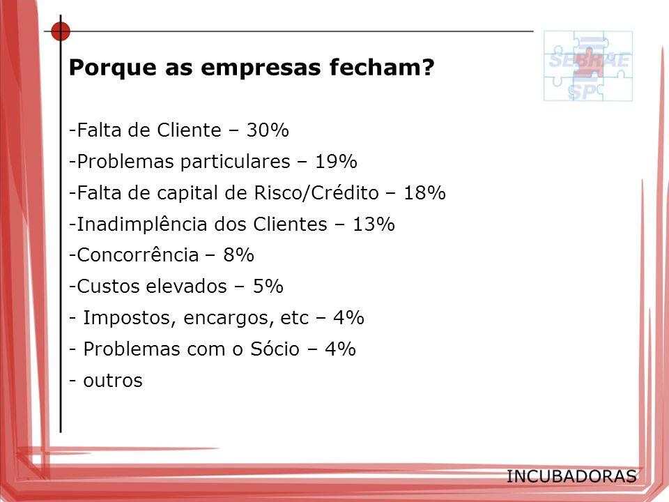 -Falta de Cliente – 30% -Problemas particulares – 19% -Falta de capital de Risco/Crédito – 18% -Inadimplência dos Clientes – 13% -Concorrência – 8% -C