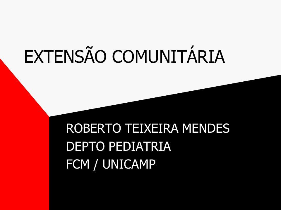EXTENSÃO COMUNITÁRIA ROBERTO TEIXEIRA MENDES DEPTO PEDIATRIA FCM / UNICAMP