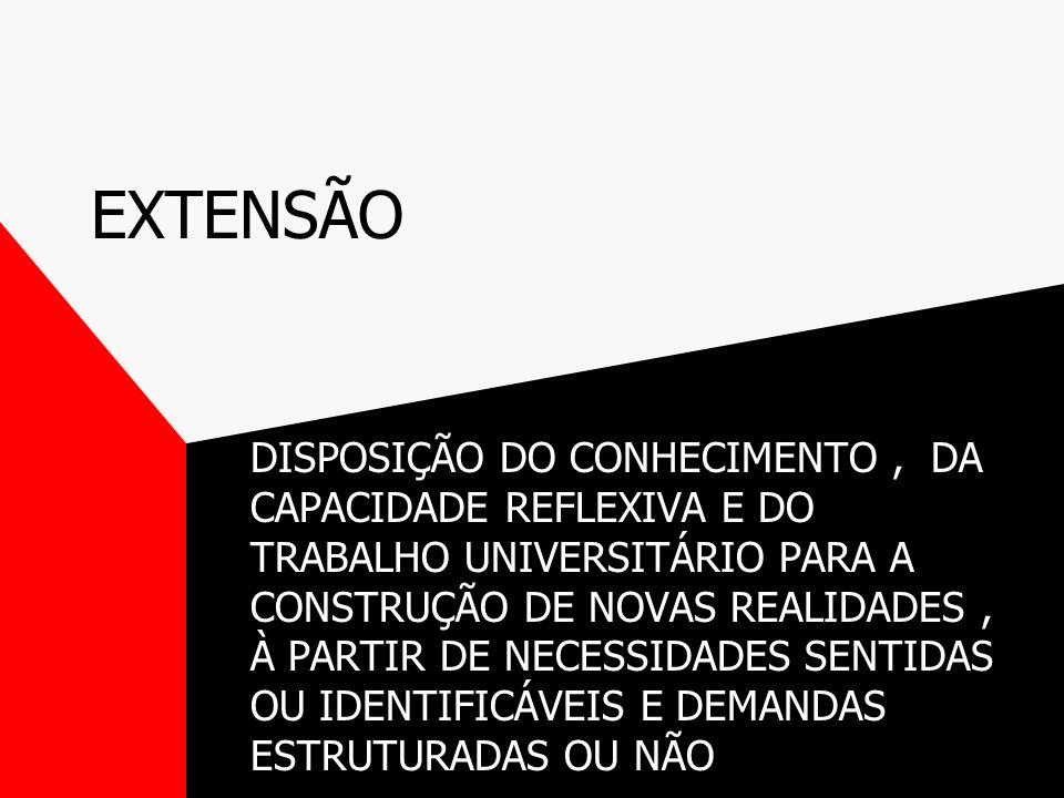 EXTENSÃO DISPOSIÇÃO DO CONHECIMENTO, DA CAPACIDADE REFLEXIVA E DO TRABALHO UNIVERSITÁRIO PARA A CONSTRUÇÃO DE NOVAS REALIDADES, À PARTIR DE NECESSIDADES SENTIDAS OU IDENTIFICÁVEIS E DEMANDAS ESTRUTURADAS OU NÃO