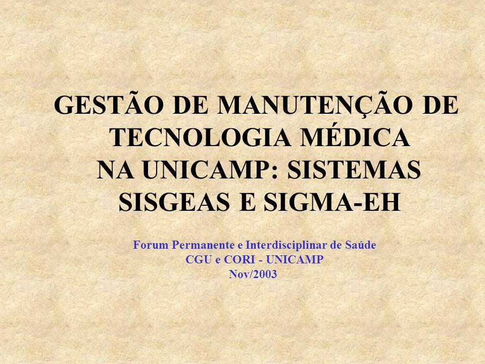 GESTÃO DE MANUTENÇÃO DE TECNOLOGIA MÉDICA NA UNICAMP: SISTEMAS SISGEAS E SIGMA-EH Forum Permanente e Interdisciplinar de Saúde CGU e CORI - UNICAMP Nov/2003