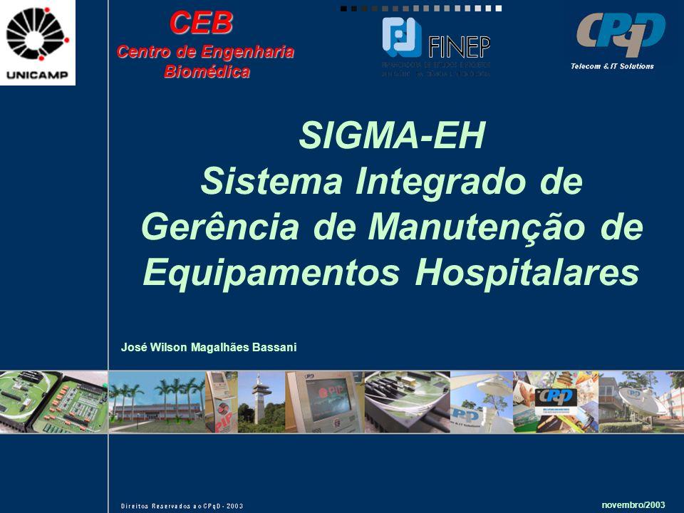 Sistema Integrado de Gerência de Manutenção de Equipamentos Hospitalares novembro/2003 José Wilson Magalhães BassaniCEB Centro de Engenharia Biomédica Biomédica