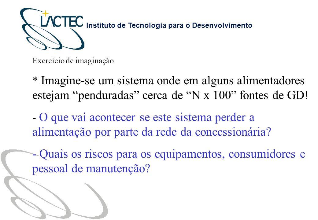 Instituto de Tecnologia para o Desenvolvimento Exercício de imaginação * Imagine-se um sistema onde em alguns alimentadores estejam penduradas cerca de N x 100 fontes de GD.