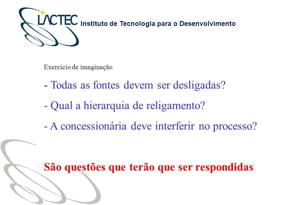 Instituto de Tecnologia para o Desenvolvimento Exercício de imaginação - Todas as fontes devem ser desligadas.